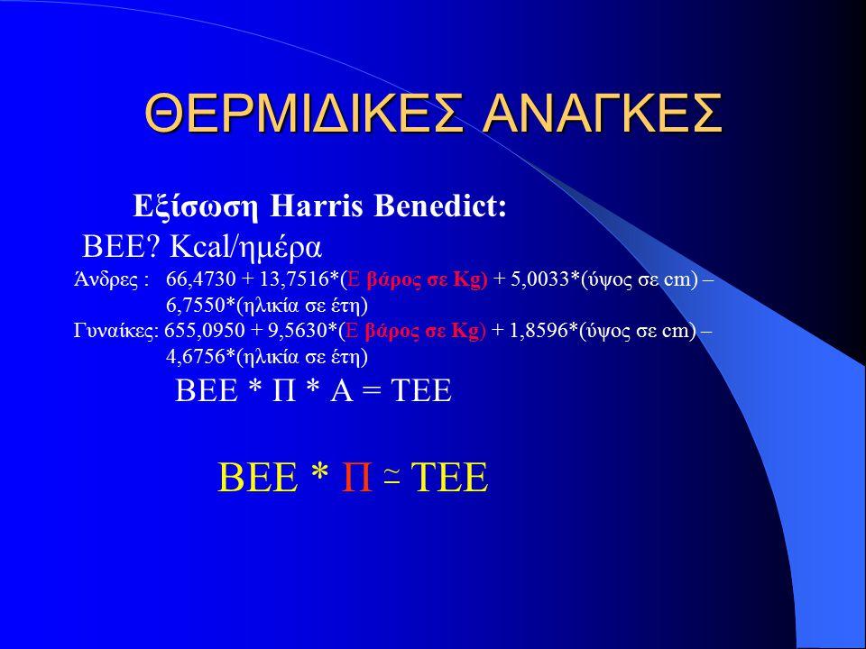 ΘΕΡΜΙΔΙΚΕΣ ΑΝΑΓΚΕΣ Εξίσωση Harris Benedict: ΒΕΕ.