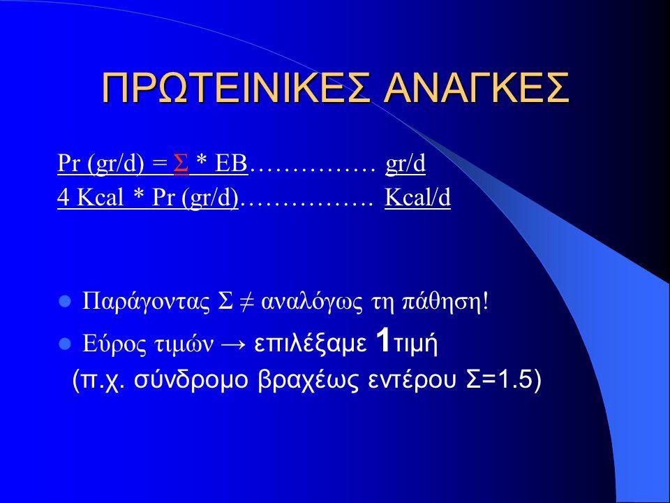 ΠΡΩΤΕΙΝΙΚΕΣ ΑΝΑΓΚΕΣ Pr (gr/d) = Σ * ΕB…………… gr/d 4 Kcal * Pr (gr/d)…………….