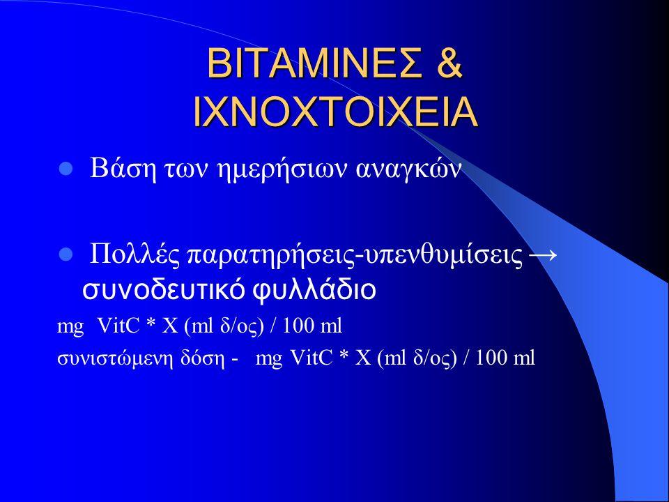 ΒΙΤΑΜΙΝΕΣ & ΙΧΝΟΧΤΟΙΧΕΙΑ Βάση των ημερήσιων αναγκών Πολλές παρατηρήσεις-υπενθυμίσεις → συνοδευτικό φυλλάδιο mg VitC * Χ (ml δ/ος) / 100 ml συνιστώμενη δόση - mg VitC * Χ (ml δ/ος) / 100 ml