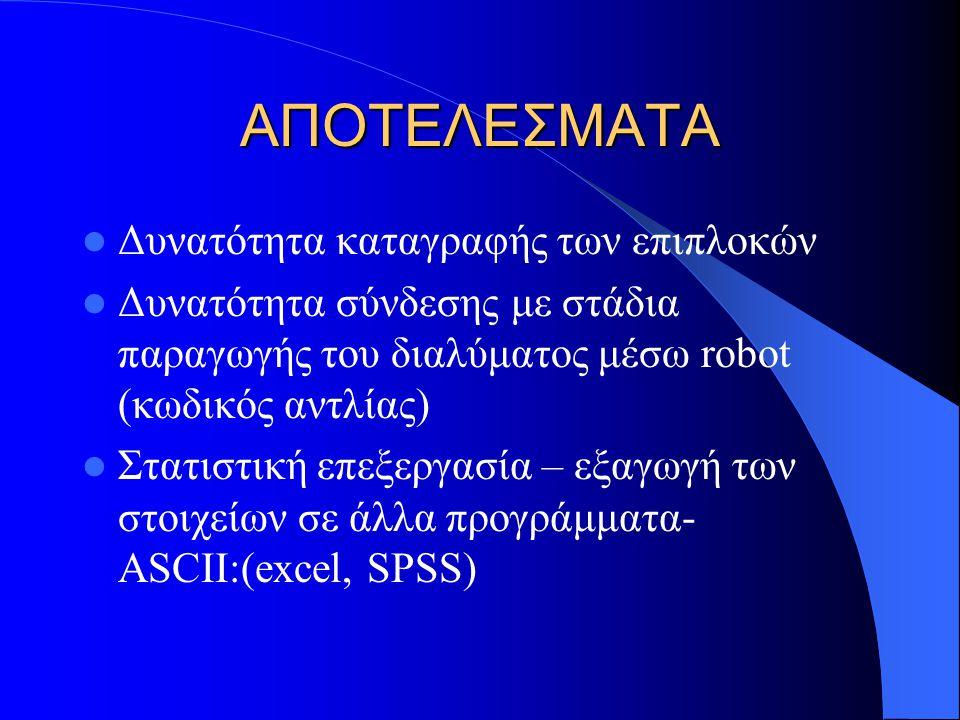 ΑΠΟΤΕΛΕΣΜΑΤΑ Δυνατότητα καταγραφής των επιπλοκών Δυνατότητα σύνδεσης με στάδια παραγωγής του διαλύματος μέσω robot (κωδικός αντλίας) Στατιστική επεξεργασία – εξαγωγή των στοιχείων σε άλλα προγράμματα- ASCII:(excel, SPSS)