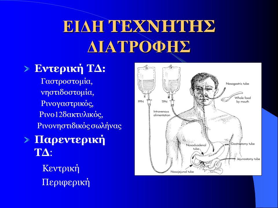 ΕΙΔΗ ΤΕΧΝΗΤΗΣ ΔΙΑΤΡΟΦΗΣ Εντερική ΤΔ: Γαστροστομία, νηστιδοστομία, Ρινογαστρικός, Ρινο 12 δακτυλικός, Ρινονηστιδικός σωλήνας Παρεντερική ΤΔ: Κεντρική Περιφερική