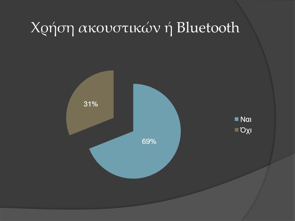 Χρήση ακουστικών ή Bluetooth