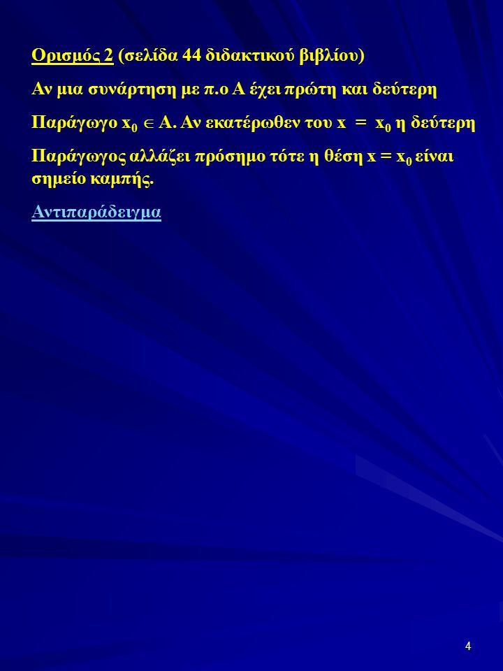 4 Ορισμός 2 (σελίδα 44 διδακτικού βιβλίου) Αν μια συνάρτηση με π.ο Α έχει πρώτη και δεύτερη Παράγωγο x 0  A.