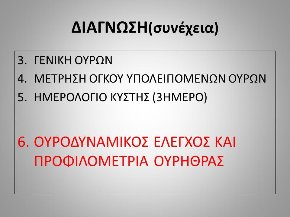 ΔΙΑΓΝΩΣΗ (συνέχεια) 3.ΓΕΝΙΚΗ ΟΥΡΩΝ 4.ΜΕΤΡΗΣΗ ΟΓΚΟΥ ΥΠΟΛΕΙΠΟΜΕΝΩΝ ΟΥΡΩΝ 5.ΗΜΕΡΟΛΟΓΙΟ ΚΥΣΤΗΣ (3ΗΜΕΡΟ) 6.ΟΥΡΟΔΥΝΑΜΙΚΟΣ ΕΛΕΓΧΟΣ ΚΑΙ ΠΡΟΦΙΛΟΜΕΤΡΙΑ ΟΥΡΗΘΡΑΣ