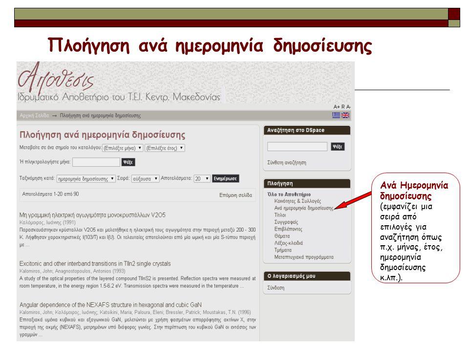 Ανά Ημερομηνία δημοσίευσης (εμφανίζει μια σειρά από επιλογές για αναζήτηση όπως π.χ. μήνας, έτος, ημερομηνία δημοσίευσης κ.λπ.). Πλοήγηση ανά ημερομην