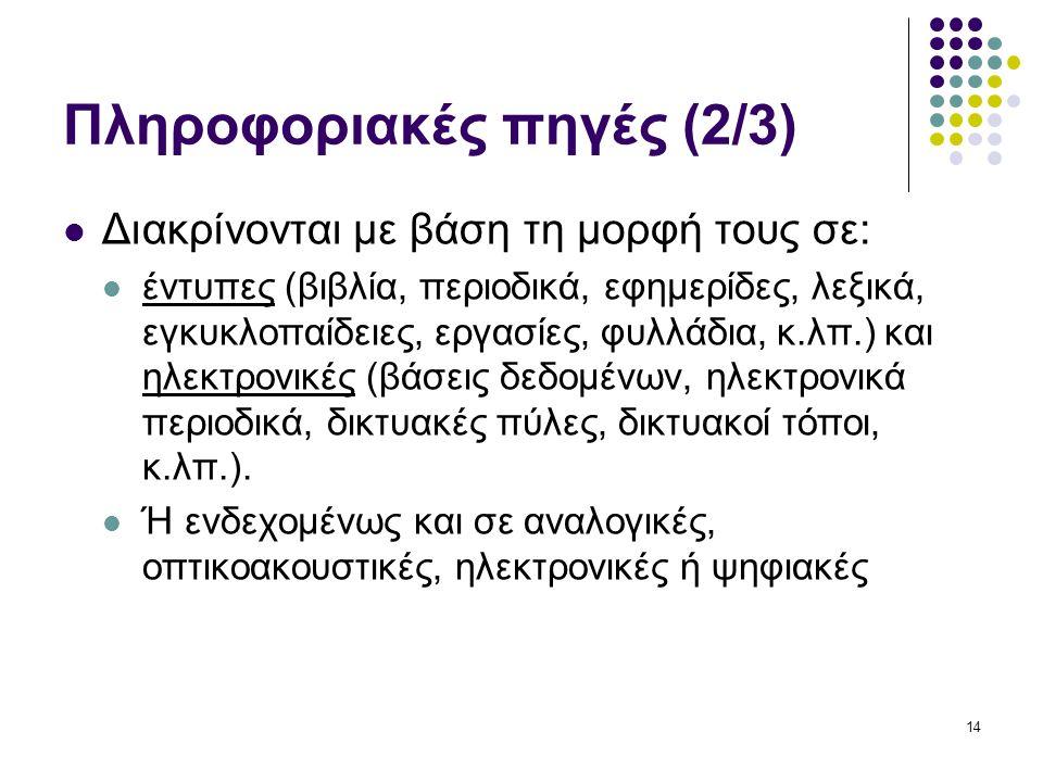 14 Πληροφοριακές πηγές (2/3) Διακρίνονται με βάση τη μορφή τους σε: έντυπες (βιβλία, περιοδικά, εφημερίδες, λεξικά, εγκυκλοπαίδειες, εργασίες, φυλλάδια, κ.λπ.) και ηλεκτρονικές (βάσεις δεδομένων, ηλεκτρονικά περιοδικά, δικτυακές πύλες, δικτυακοί τόποι, κ.λπ.).