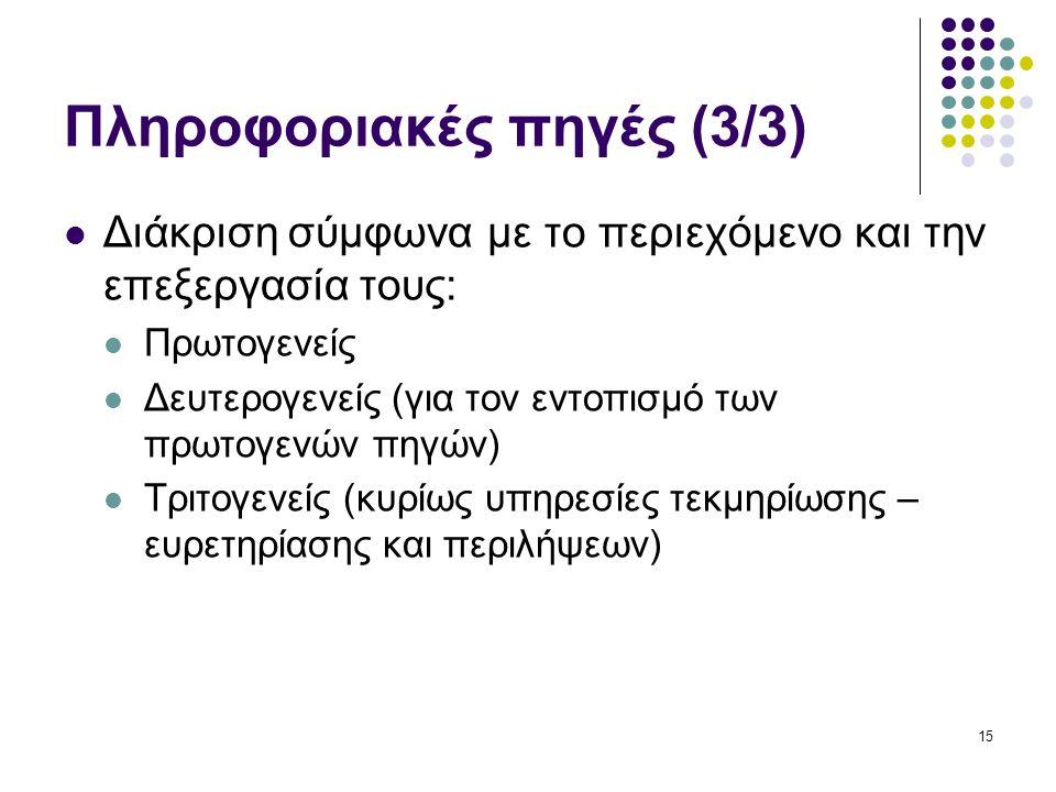 15 Πληροφοριακές πηγές (3/3) Διάκριση σύμφωνα με το περιεχόμενο και την επεξεργασία τους: Πρωτογενείς Δευτερογενείς (για τον εντοπισμό των πρωτογενών πηγών) Τριτογενείς (κυρίως υπηρεσίες τεκμηρίωσης – ευρετηρίασης και περιλήψεων)