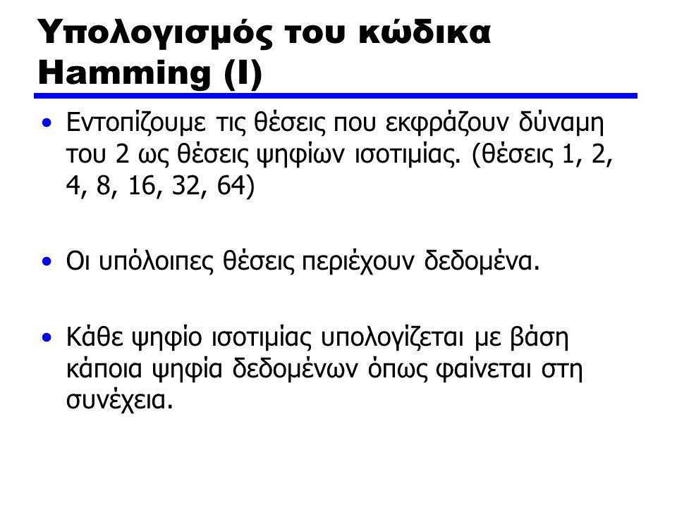 Υπολογισμός του κώδικα Hamming (Ι) Εντοπίζουμε τις θέσεις που εκφράζουν δύναμη του 2 ως θέσεις ψηφίων ισοτιμίας. (θέσεις 1, 2, 4, 8, 16, 32, 64) Οι υπ