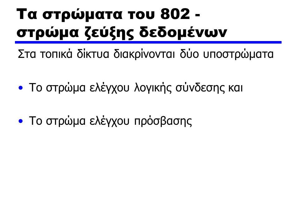 Τα στρώματα του 802 - στρώμα ζεύξης δεδομένων Στα τοπικά δίκτυα διακρίνονται δύο υποστρώματα Το στρώμα ελέγχου λογικής σύνδεσης και Το στρώμα ελέγχου