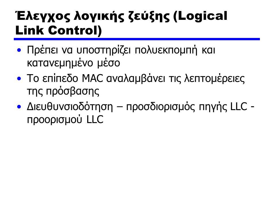 Έλεγχος λογικής ζεύξης (Logical Link Control) Πρέπει να υποστηρίζει πολυεκπομπή και κατανεμημένο μέσο Το επίπεδο MAC αναλαμβάνει τις λεπτομέρειες της