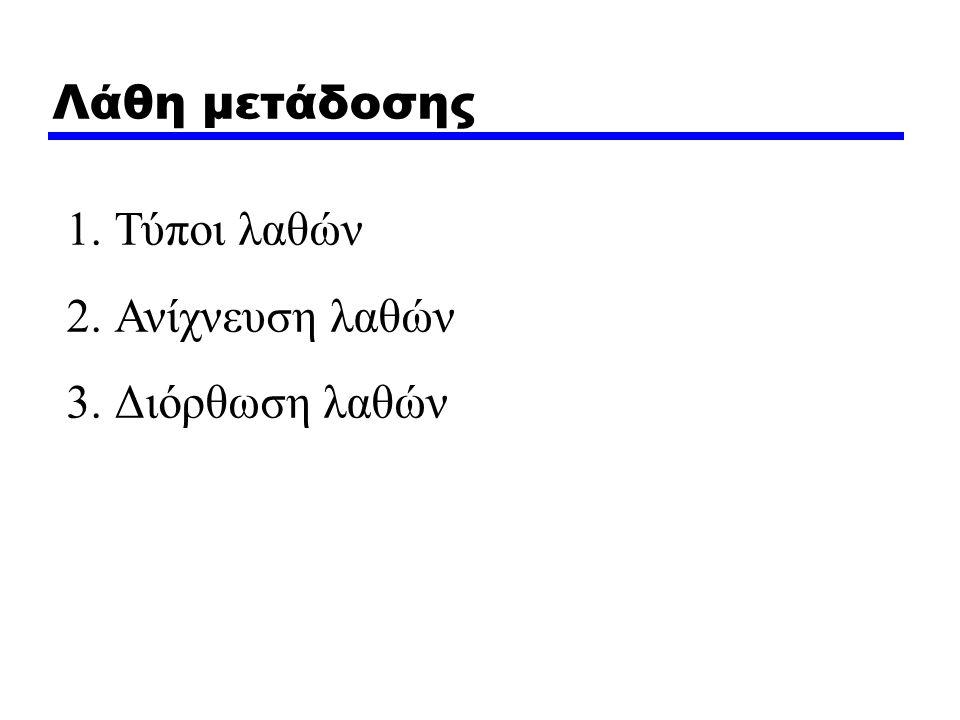 Λάθη μετάδοσης 1.Τύποι λαθών 2.Ανίχνευση λαθών 3.Διόρθωση λαθών