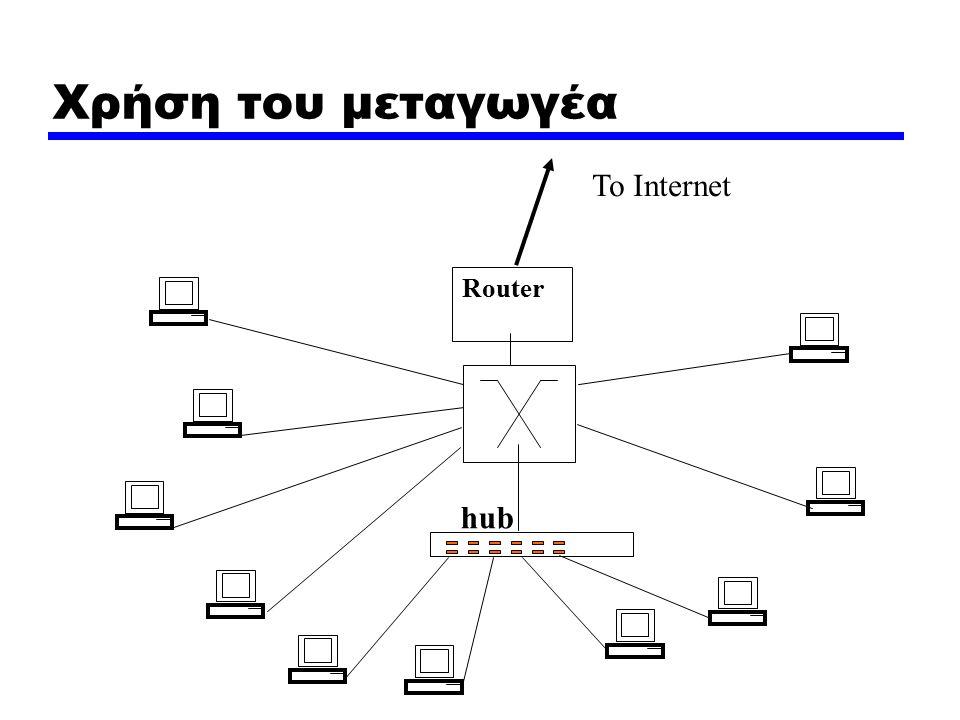 Χρήση του μεταγωγέα Router To Internet hub