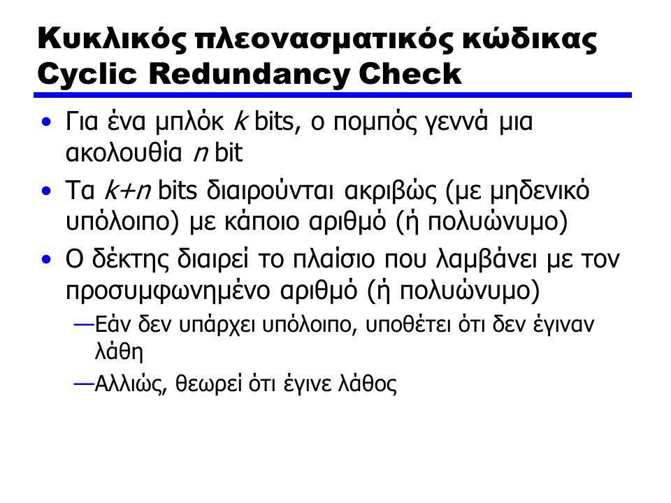 Κυκλικός πλεονασματικός κώδικας Cyclic Redundancy Check Για ένα μπλόκ k bits, ο πομπός γεννά μια ακολουθία n bit Τα k+n bits διαιρούνται ακριβώς (με μ