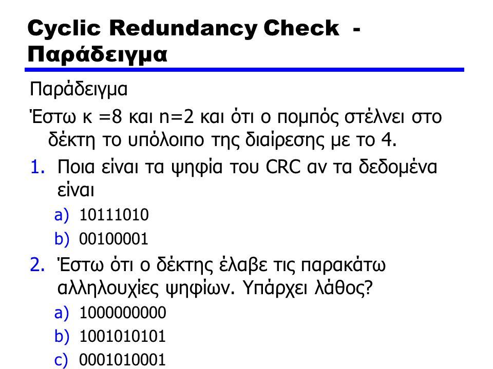 Cyclic Redundancy Check - Παράδειγμα Παράδειγμα Έστω κ =8 και n=2 και ότι ο πομπός στέλνει στο δέκτη το υπόλοιπο της διαίρεσης με το 4. 1.Ποια είναι τ