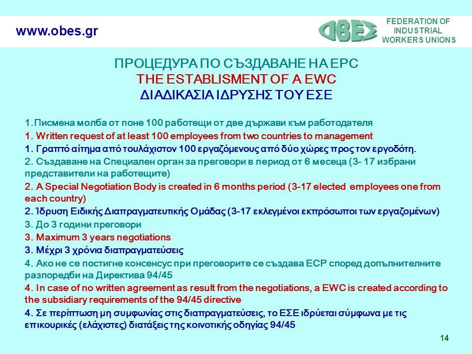 FEDERATION OF INDUSTRIAL WORKERS UNIONS 14 www.obes.gr ПРОЦЕДУРА ПО СЪЗДАВАНЕ НА ЕРС THE ESTABLISMENT OF A EWC ΔΙΑΔΙΚΑΣΙΑ ΙΔΡΥΣΗΣ ΤΟΥ ΕΣΕ 1.Писмена молба от поне 100 работещи от две държави към работодателя 1.
