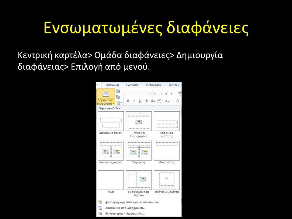 Ενσωματωμένες διαφάνειες Κεντρική καρτέλα> Ομάδα διαφάνειες> Δημιουργία διαφάνειας> Επιλογή από μενού.