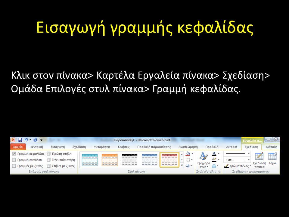 Εισαγωγή γραμμής κεφαλίδας Κλικ στον πίνακα> Καρτέλα Εργαλεία πίνακα> Σχεδίαση> Ομάδα Επιλογές στυλ πίνακα> Γραμμή κεφαλίδας.