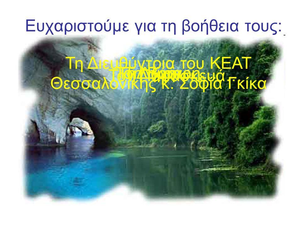 Ευχαριστούμε για τη βοήθεια τους: Τη Διευθύντρια του ΚΕΑΤ Θεσσαλονίκης κ.