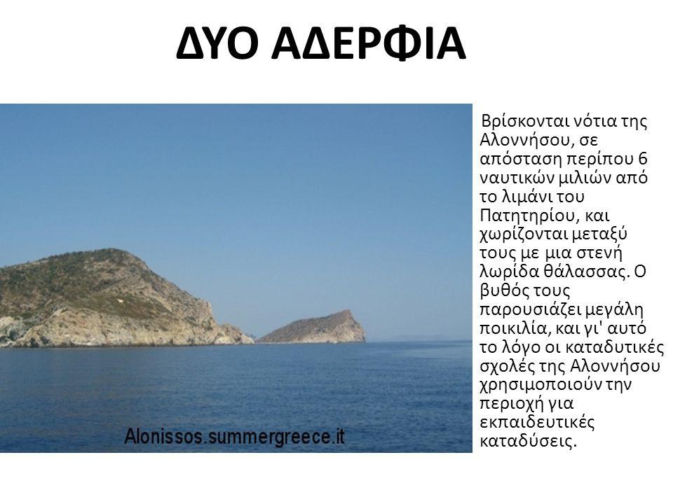 ΔΥΟ ΑΔΕΡΦΙΑ Βρίσκονται νότια της Αλοννήσου, σε απόσταση περίπου 6 ναυτικών μιλιών από το λιμάνι του Πατητηρίου, και χωρίζονται μεταξύ τους με μια στενή λωρίδα θάλασσας.