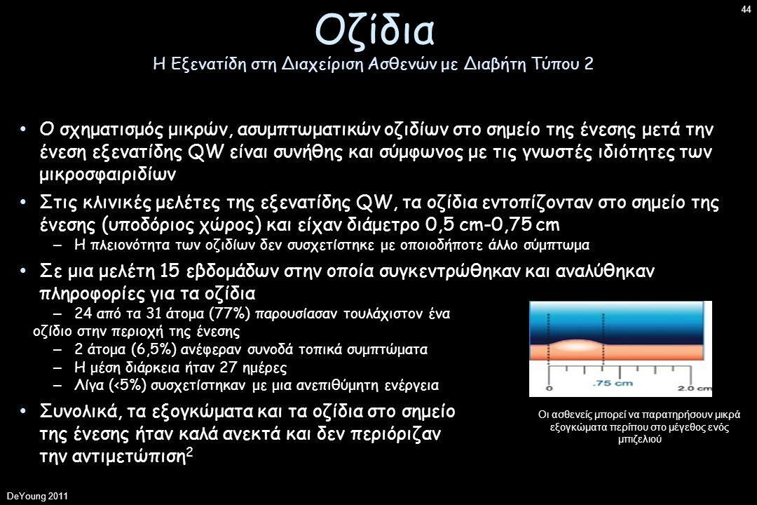 Ο σχηματισμός μικρών, ασυμπτωματικών οζιδίων στο σημείο της ένεσης μετά την ένεση εξενατίδης QW είναι συνήθης και σύμφωνος με τις γνωστές ιδιότητες των μικροσφαιριδίων Στις κλινικές μελέτες της εξενατίδης QW, τα οζίδια εντοπίζονταν στο σημείο της ένεσης (υποδόριος χώρος) και είχαν διάμετρο 0,5 cm-0,75 cm – Η πλειονότητα των οζιδίων δεν συσχετίστηκε με οποιοδήποτε άλλο σύμπτωμα Σε μια μελέτη 15 εβδομάδων στην οποία συγκεντρώθηκαν και αναλύθηκαν πληροφορίες για τα οζίδια – 24 από τα 31 άτομα (77%) παρουσίασαν τουλάχιστον ένα οζίδιο στην περιοχή της ένεσης – 2 άτομα (6,5%) ανέφεραν συνοδά τοπικά συμπτώματα – Η μέση διάρκεια ήταν 27 ημέρες – Λίγα (<5%) συσχετίστηκαν με μια ανεπιθύμητη ενέργεια Συνολικά, τα εξογκώματα και τα οζίδια στο σημείο της ένεσης ήταν καλά ανεκτά και δεν περιόριζαν την αντιμετώπιση 2 Οι ασθενείς μπορεί να παρατηρήσουν μικρά εξογκώματα περίπου στο μέγεθος ενός μπιζελιού DeYoung 2011 44 Οζίδια Η Εξενατίδη στη Διαχείριση Ασθενών με Διαβήτη Τύπου 2