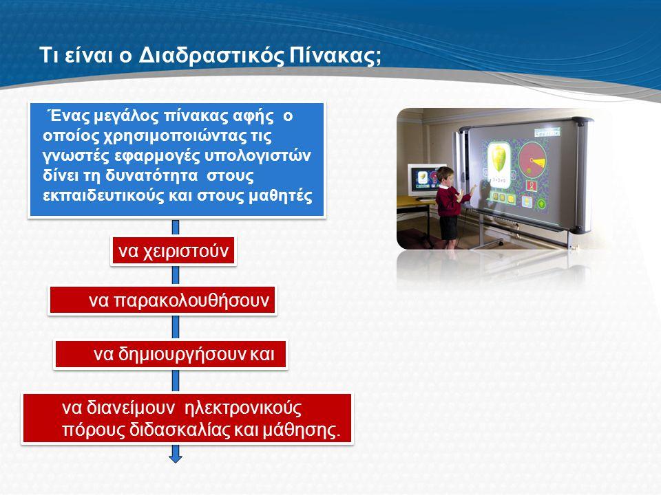 Tι είναι ο Διαδραστικός Πίνακας; Ένας μεγάλος πίνακας αφής ο οποίος χρησιμοποιώντας τις γνωστές εφαρμογές υπολογιστών δίνει τη δυνατότητα στους εκπαιδευτικούς και στους μαθητές να παρακολουθήσουν να χειριστούν να δημιουργήσουν και να διανείμουν ηλεκτρονικούς πόρους διδασκαλίας και μάθησης.