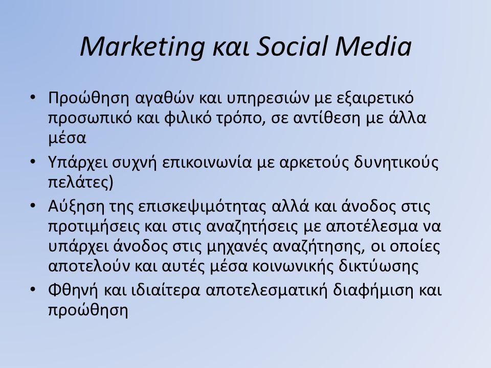 Marketing και Social Media Προώθηση αγαθών και υπηρεσιών με εξαιρετικό προσωπικό και φιλικό τρόπο, σε αντίθεση με άλλα μέσα Υπάρχει συχνή επικοινωνία