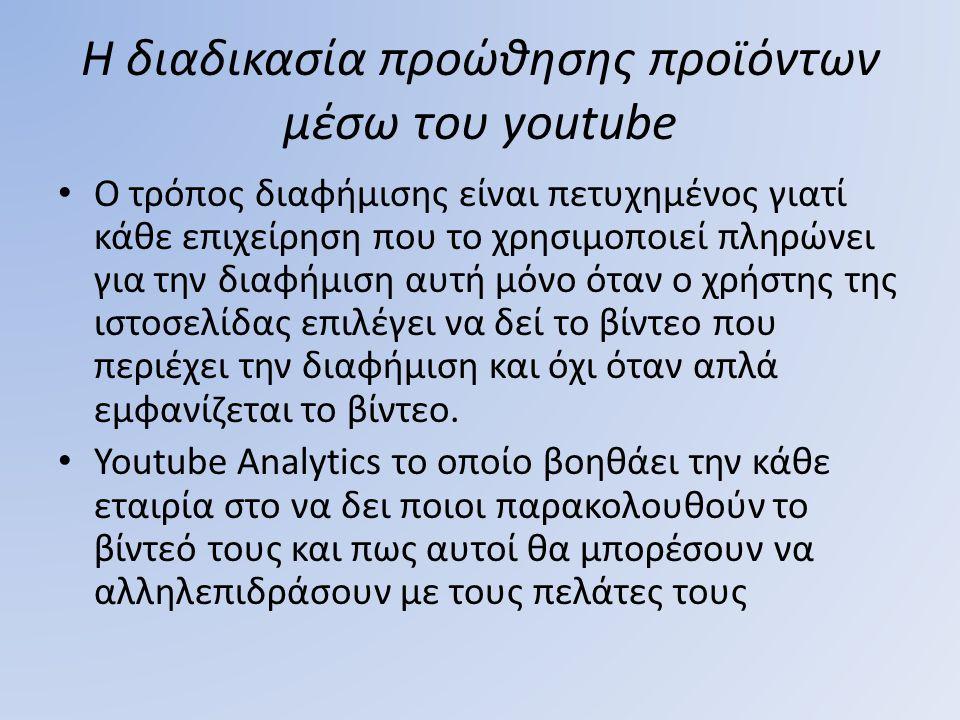 Η διαδικασία προώθησης προϊόντων μέσω του youtube Ο τρόπος διαφήμισης είναι πετυχημένος γιατί κάθε επιχείρηση που το χρησιμοποιεί πληρώνει για την δια