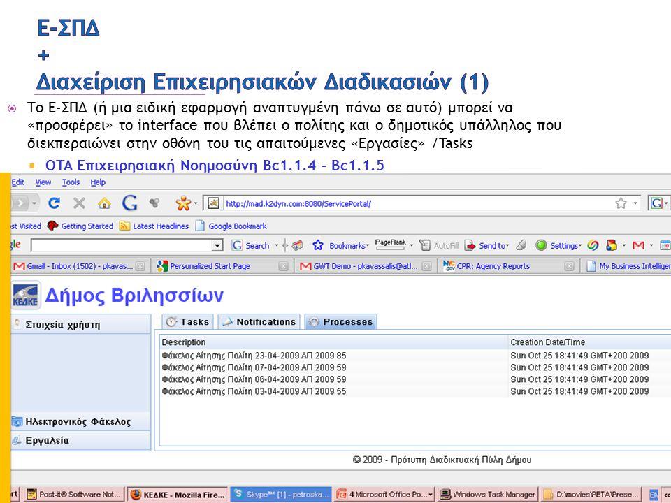  Το Ε-ΣΠΔ (ή μια ειδική εφαρμογή αναπτυγμένη πάνω σε αυτό) μπορεί να «προσφέρει» το interface που βλέπει ο πολίτης και ο δημοτικός υπάλληλος που διεκπεραιώνει στην οθόνη του τις απαιτούμενες «Εργασίες» /Tasks  OTA Επιχειρησιακή Νοημοσύνη Bc1.1.4 – Bc1.1.5 20 ΠΕΤΑ: ΟΤΑ Επιχειρησιακή Νοημοσύνη [Ad1.2.3 ΑΝΑΠΤΥΞΗ]