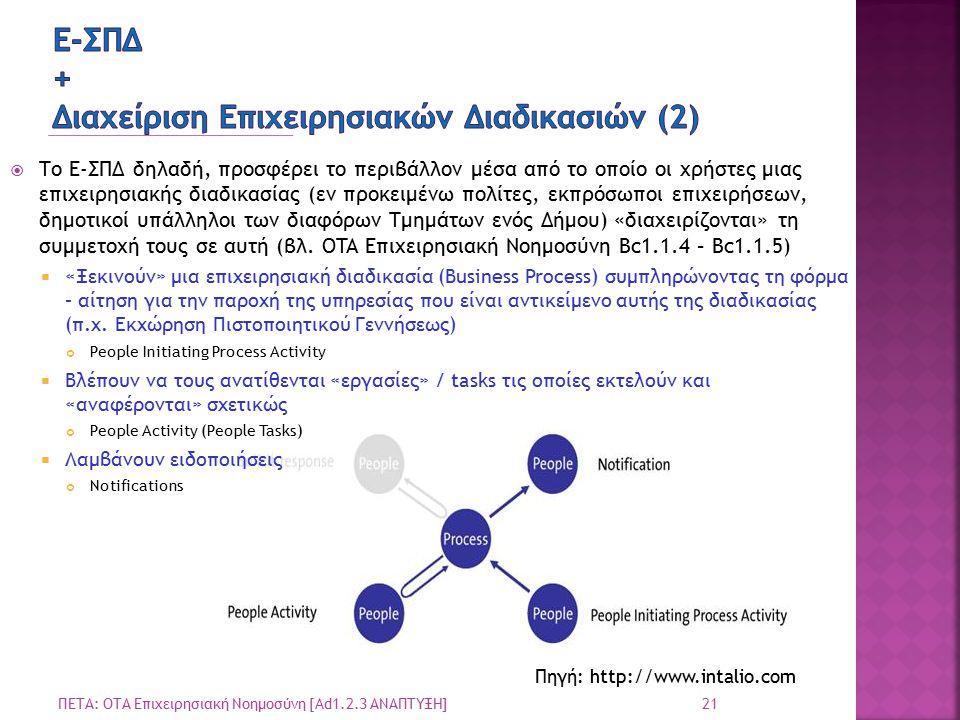 21 ΠΕΤΑ: ΟΤΑ Επιχειρησιακή Νοημοσύνη [Ad1.2.3 ΑΝΑΠΤΥΞΗ]  Το Ε-ΣΠΔ δηλαδή, προσφέρει το περιβάλλον μέσα από το οποίο οι χρήστες μιας επιχειρησιακής διαδικασίας (εν προκειμένω πολίτες, εκπρόσωποι επιχειρήσεων, δημοτικοί υπάλληλοι των διαφόρων Τμημάτων ενός Δήμου) «διαχειρίζονται» τη συμμετοχή τους σε αυτή (βλ.