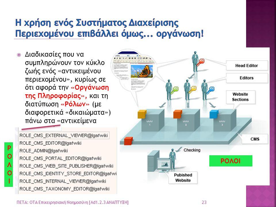 23 ΠΕΤΑ: ΟΤΑ Επιχειρησιακή Νοημοσύνη [Ad1.2.3 ΑΝΑΠΤΥΞΗ]  Διαδικασίες που να συμπληρώνουν τον κύκλο ζωής ενός «αντικειμένου περιεχομένου», κυρίως σε ότι αφορά την «Οργάνωση της Πληροφορίας», και τη διατύπωση «Ρόλων» (με διαφορετικά «δικαιώματα») πάνω στα «αντικείμενα περιεχομένου» ΡΟΛΟΙΡΟΛΟΙ ΡΟΛΟΙ