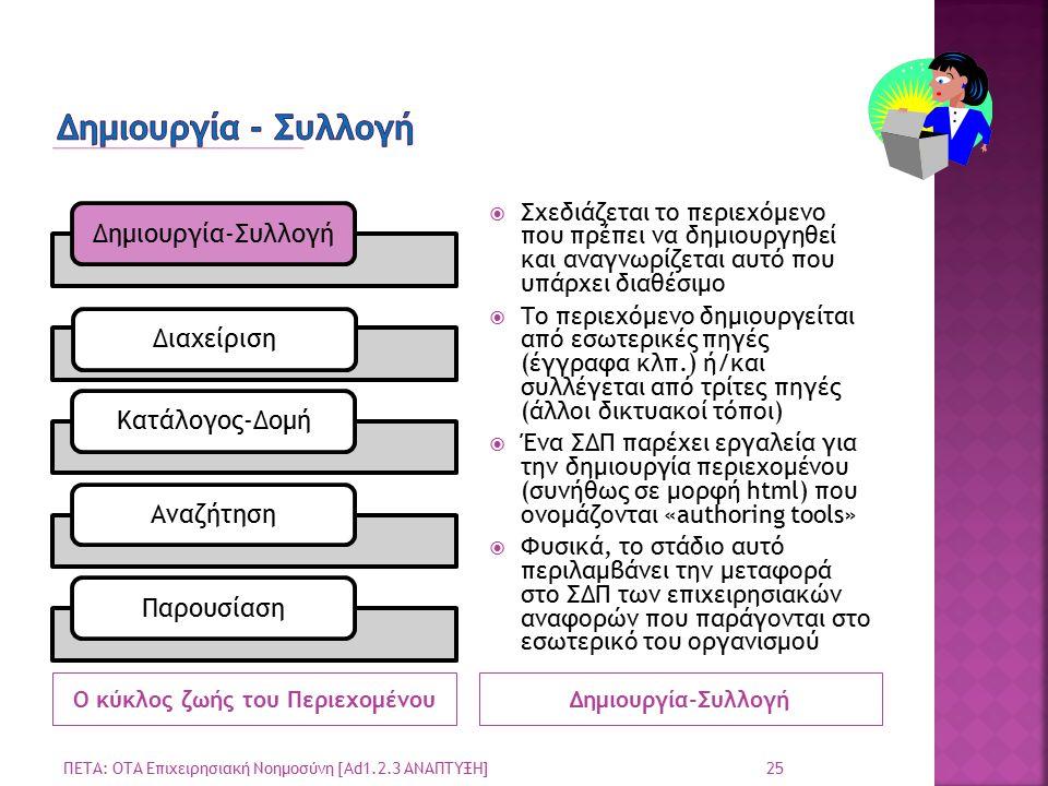 Ο κύκλος ζωής του ΠεριεχομένουΔημιουργία-Συλλογή ΔιαχείρισηΚατάλογος-ΔομήΑναζήτησηΠαρουσίαση  Σχεδιάζεται το περιεχόμενο που πρέπει να δημιουργηθεί και αναγνωρίζεται αυτό που υπάρχει διαθέσιμο  Το περιεχόμενο δημιουργείται από εσωτερικές πηγές (έγγραφα κλπ.) ή/και συλλέγεται από τρίτες πηγές (άλλοι δικτυακοί τόποι)  Ένα ΣΔΠ παρέχει εργαλεία για την δημιουργία περιεχομένου (συνήθως σε μορφή html) που ονομάζονται «authoring tools»  Φυσικά, το στάδιο αυτό περιλαμβάνει την μεταφορά στο ΣΔΠ των επιχειρησιακών αναφορών που παράγονται στο εσωτερικό του οργανισμού ΠΕΤΑ: ΟΤΑ Επιχειρησιακή Νοημοσύνη [Ad1.2.3 ΑΝΑΠΤΥΞΗ] 25