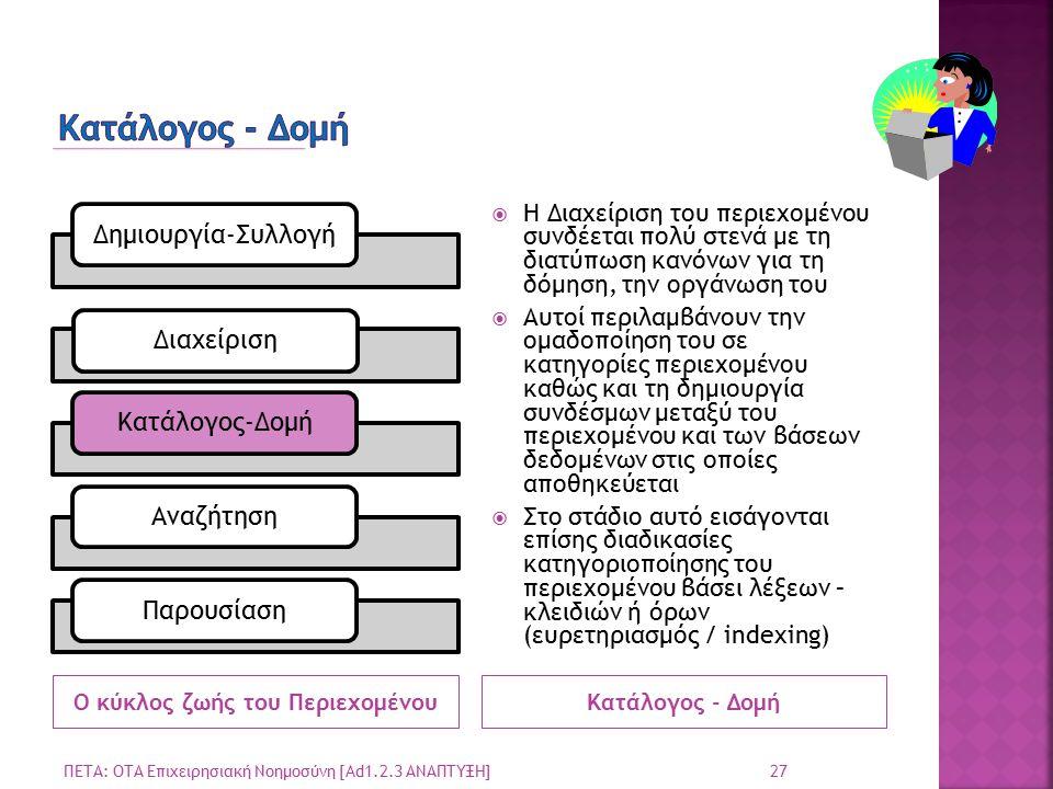 Ο κύκλος ζωής του ΠεριεχομένουΚατάλογος - Δομή  Η Διαχείριση του περιεχομένου συνδέεται πολύ στενά με τη διατύπωση κανόνων για τη δόμηση, την οργάνωση του  Αυτοί περιλαμβάνουν την ομαδοποίηση του σε κατηγορίες περιεχομένου καθώς και τη δημιουργία συνδέσμων μεταξύ του περιεχομένου και των βάσεων δεδομένων στις οποίες αποθηκεύεται  Στο στάδιο αυτό εισάγονται επίσης διαδικασίες κατηγοριοποίησης του περιεχομένου βάσει λέξεων – κλειδιών ή όρων (ευρετηριασμός / indexing) ΠΕΤΑ: ΟΤΑ Επιχειρησιακή Νοημοσύνη [Ad1.2.3 ΑΝΑΠΤΥΞΗ] 27 Δημιουργία-ΣυλλογήΔιαχείρισηΚατάλογος-ΔομήΑναζήτησηΠαρουσίαση