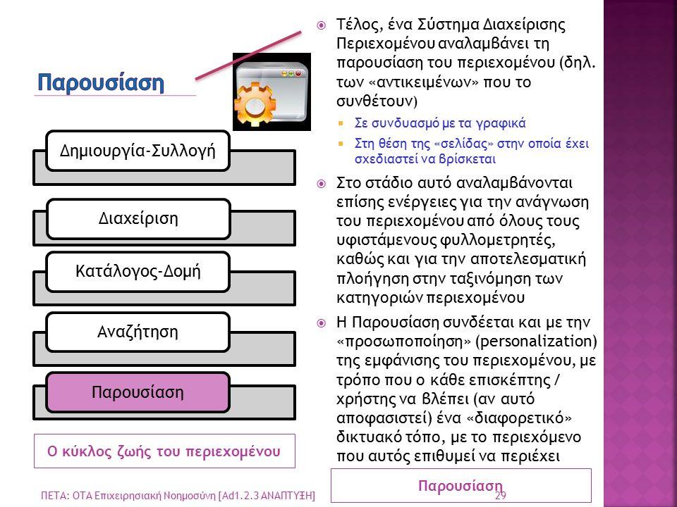 Ο κύκλος ζωής του περιεχομένου Παρουσίαση  Τέλος, ένα Σύστημα Διαχείρισης Περιεχομένου αναλαμβάνει τη παρουσίαση του περιεχομένου (δηλ.