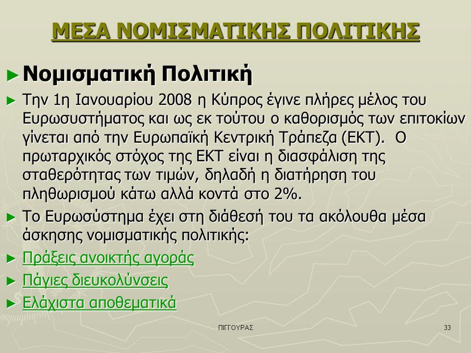 ΠΙΓΓΟΥΡΑΣ33 ΜΕΣΑ ΝΟΜΙΣΜΑΤΙΚΗΣ ΠΟΛΙΤΙΚΗΣ ► Νομισματική Πολιτική ► Την 1η Ιανουαρίου 2008 η Κύπρος έγινε πλήρες μέλος του Ευρωσυστήματος και ως εκ τούτου ο καθορισμός των επιτοκίων γίνεται από την Ευρωπαϊκή Κεντρική Τράπεζα (ΕΚΤ).