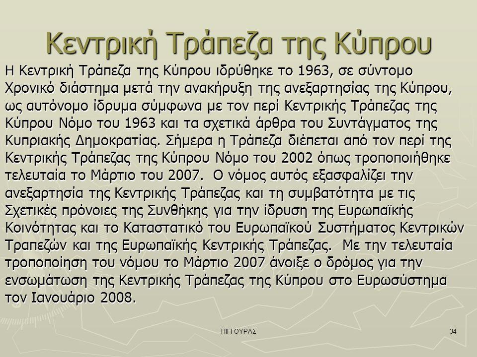 ΠΙΓΓΟΥΡΑΣ34 Κεντρική Τράπεζα της Κύπρου Η Κεντρική Τράπεζα της Κύπρου ιδρύθηκε το 1963, σε σύντομο Χρονικό διάστημα μετά την ανακήρυξη της ανεξαρτησίας της Κύπρου, ως αυτόνομο ίδρυμα σύμφωνα με τον περί Κεντρικής Τράπεζας της Κύπρου Νόμο του 1963 και τα σχετικά άρθρα του Συντάγματος της Κυπριακής Δημοκρατίας.