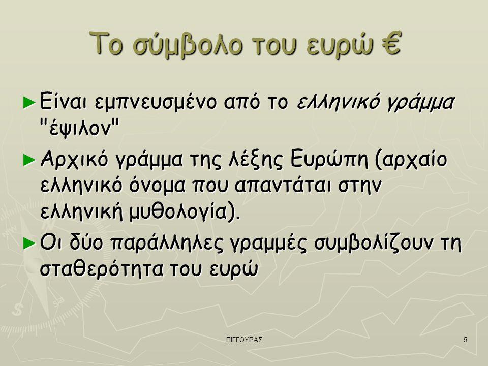 5 Το σύμβολο του ευρώ € ► Είναι εμπνευσμένο από το ελληνικό γράμμα έψιλον ► Αρχικό γράμμα της λέξης Ευρώπη (αρχαίο ελληνικό όνομα που απαντάται στην ελληνική μυθολογία).