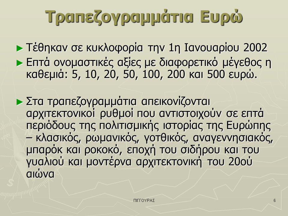 ΠΙΓΓΟΥΡΑΣ6 Τραπεζογραμμάτια Ευρώ ► Τέθηκαν σε κυκλοφορία την 1η Ιανουαρίου 2002 ► Επτά ονομαστικές αξίες με διαφορετικό μέγεθος η καθεμιά: 5, 10, 20, 50, 100, 200 και 500 ευρώ.