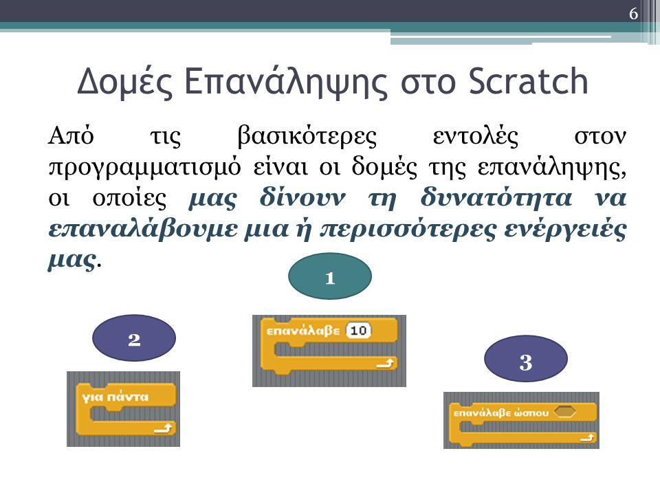 Δομές Επανάληψης στο Scratch Από τις βασικότερες εντολές στον προγραμματισμό είναι οι δομές της επανάληψης, οι οποίες μας δίνουν τη δυνατότητα να επαναλάβουμε μια ή περισσότερες ενέργειές μας.