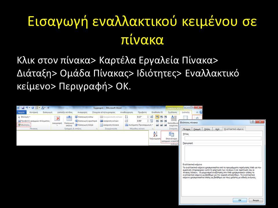 Εισαγωγή εναλλακτικού κειμένου σε πίνακα Κλικ στον πίνακα> Καρτέλα Εργαλεία Πίνακα> Διάταξη> Ομάδα Πίνακας> Ιδιότητες> Εναλλακτικό κείμενο> Περιγραφή>