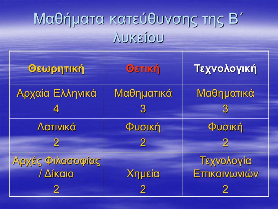 Μαθήματα κατεύθυνσης της Β΄ λυκείου ΘεωρητικήΘετικήΤεχνολογική Αρχαία Ελληνικά 4Μαθηματικά3Μαθηματικά3 Λατινικά2Φυσική2Φυσική2 Αρχές Φιλοσοφίας / Δίκαιο 2 Χημεία2 Τεχνολογία Επικοινωνιών 2