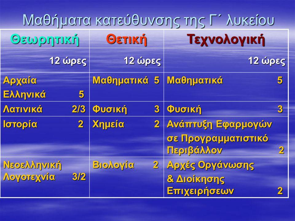 Μαθήματα κατεύθυνσης της Γ΄ λυκείου ΘεωρητικήΘετικήΤεχνολογική 12 ώρες Αρχαία Ελληνικά 5 Μαθηματικά 5 Λατινικά 2/3 Φυσική 3 Ιστορία 2 Χημεία 2 Ανάπτυξη Εφαρμογών σε Προγραμματιστικό Περιβάλλον 2 Νεοελληνική Λογοτεχνία 3/2 Βιολογία 2 Αρχές Οργάνωσης & Διοίκησης Επιχειρήσεων 2