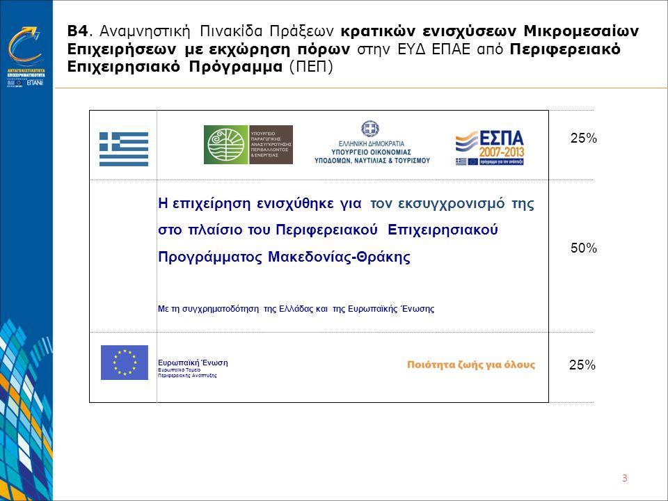 3 Β4. Αναμνηστική Πινακίδα Πράξεων κρατικών ενισχύσεων Μικρομεσαίων Επιχειρήσεων με εκχώρηση πόρων στην ΕΥΔ ΕΠΑΕ από Περιφερειακό Επιχειρησιακό Πρόγρα
