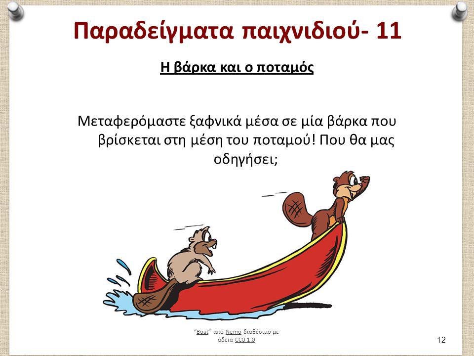 Παραδείγματα παιχνιδιού- 11 Η βάρκα και ο ποταμός Μεταφερόμαστε ξαφνικά μέσα σε μία βάρκα που βρίσκεται στη μέση του ποταμού.