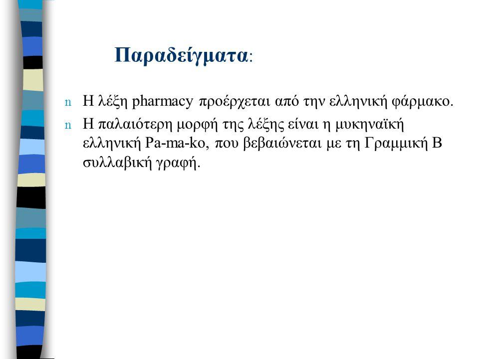 Παραδείγματα : n Η λέξη pharmacy προέρχεται από την ελληνική φάρμακο. n Η παλαιότερη μορφή της λέξης είναι η μυκηναϊκή ελληνική Pa-ma-ko, που βεβαιώνε