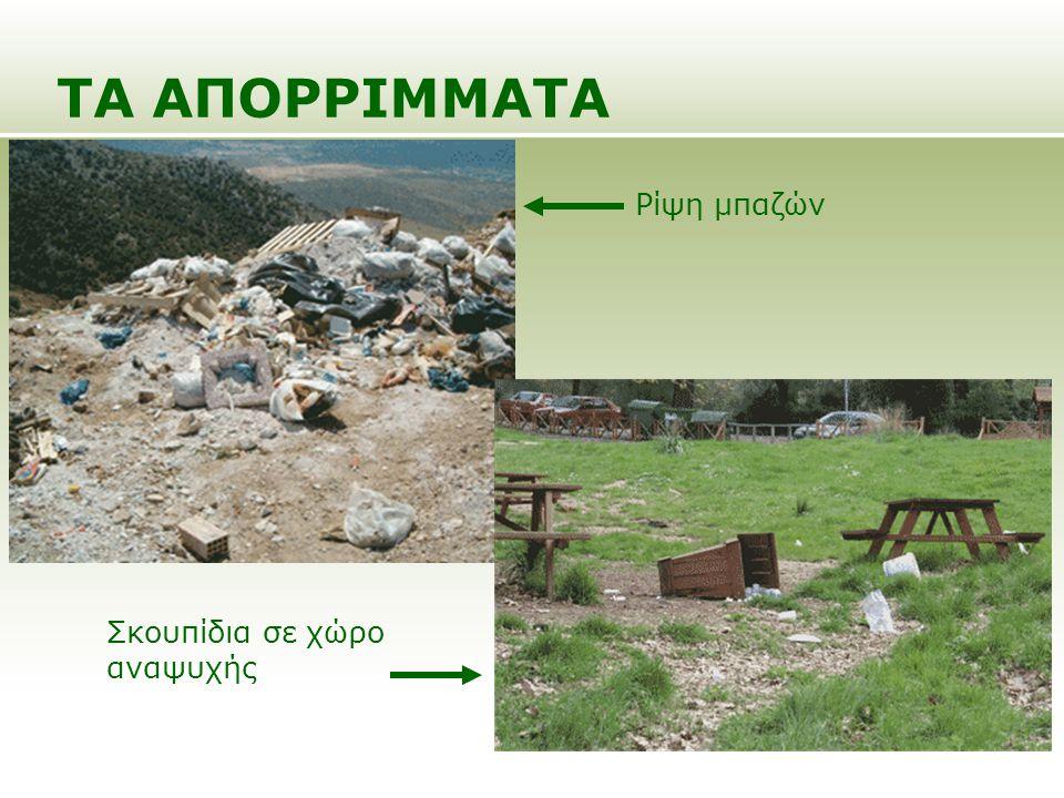 ΤΑ ΑΠΟΡΡΙΜΜΑΤΑ Σκουπίδια σε χώρο αναψυχής Ρίψη μπαζών