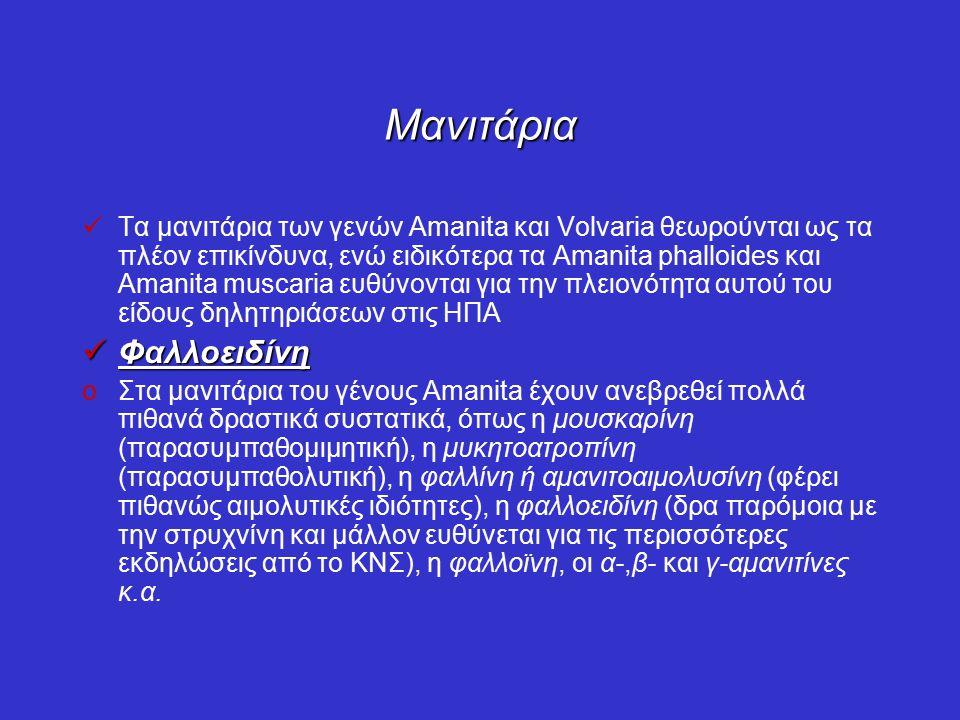Μανιτάρια Τα μανιτάρια των γενών Amanita και Volvaria θεωρούνται ως τα πλέον επικίνδυνα, ενώ ειδικότερα τα Amanita phalloides και Amanita muscaria ευθύνονται για την πλειονότητα αυτού του είδους δηλητηριάσεων στις ΗΠΑ Φαλλοειδίνη Φαλλοειδίνη oΣτα μανιτάρια του γένους Amanita έχουν ανεβρεθεί πολλά πιθανά δραστικά συστατικά, όπως η μουσκαρίνη (παρασυμπαθομιμητική), η μυκητοατροπίνη (παρασυμπαθολυτική), η φαλλίνη ή αμανιτοαιμολυσίνη (φέρει πιθανώς αιμολυτικές ιδιότητες), η φαλλοειδίνη (δρα παρόμοια με την στρυχνίνη και μάλλον ευθύνεται για τις περισσότερες εκδηλώσεις από το ΚΝΣ), η φαλλοϊνη, οι α-,β- και γ-αμανιτίνες κ.α.