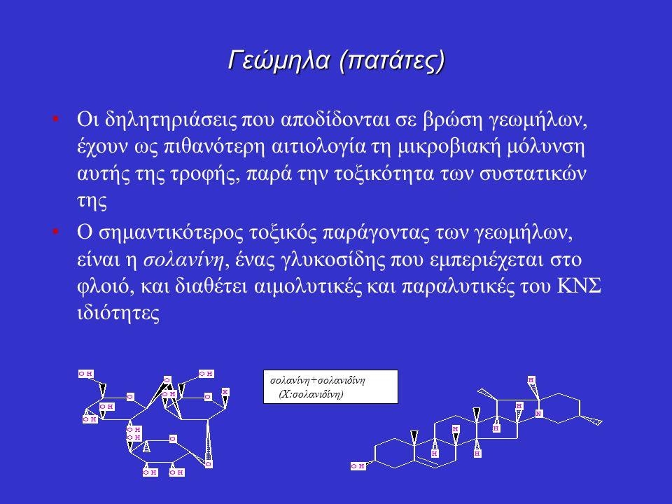 Γεώμηλα (πατάτες) Οι δηλητηριάσεις που αποδίδονται σε βρώση γεωμήλων, έχουν ως πιθανότερη αιτιολογία τη μικροβιακή μόλυνση αυτής της τροφής, παρά την τοξικότητα των συστατικών της Ο σημαντικότερος τοξικός παράγοντας των γεωμήλων, είναι η σολανίνη, ένας γλυκοσίδης που εμπεριέχεται στο φλοιό, και διαθέτει αιμολυτικές και παραλυτικές του ΚΝΣ ιδιότητες σολανίνη+σολανιδίνη (Χ:σολανιδίνη)