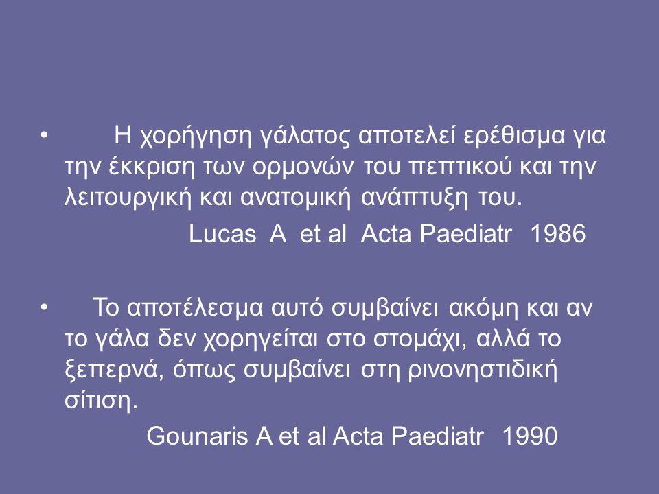 Η χορήγηση γάλατος αποτελεί ερέθισμα για την έκκριση των ορμονών του πεπτικού και την λειτουργική και ανατομική ανάπτυξη του. Lucas A et al Acta Paedi