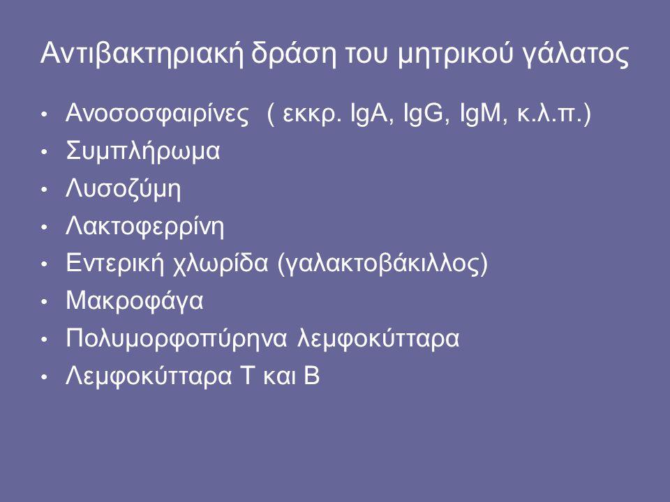 Αντιβακτηριακή δράση του μητρικού γάλατος Ανοσοσφαιρίνες ( εκκρ. IgA, IgG, ΙgM, κ.λ.π.) Συμπλήρωμα Λυσοζύμη Λακτοφερρίνη Εντερική χλωρίδα (γαλακτοβάκι