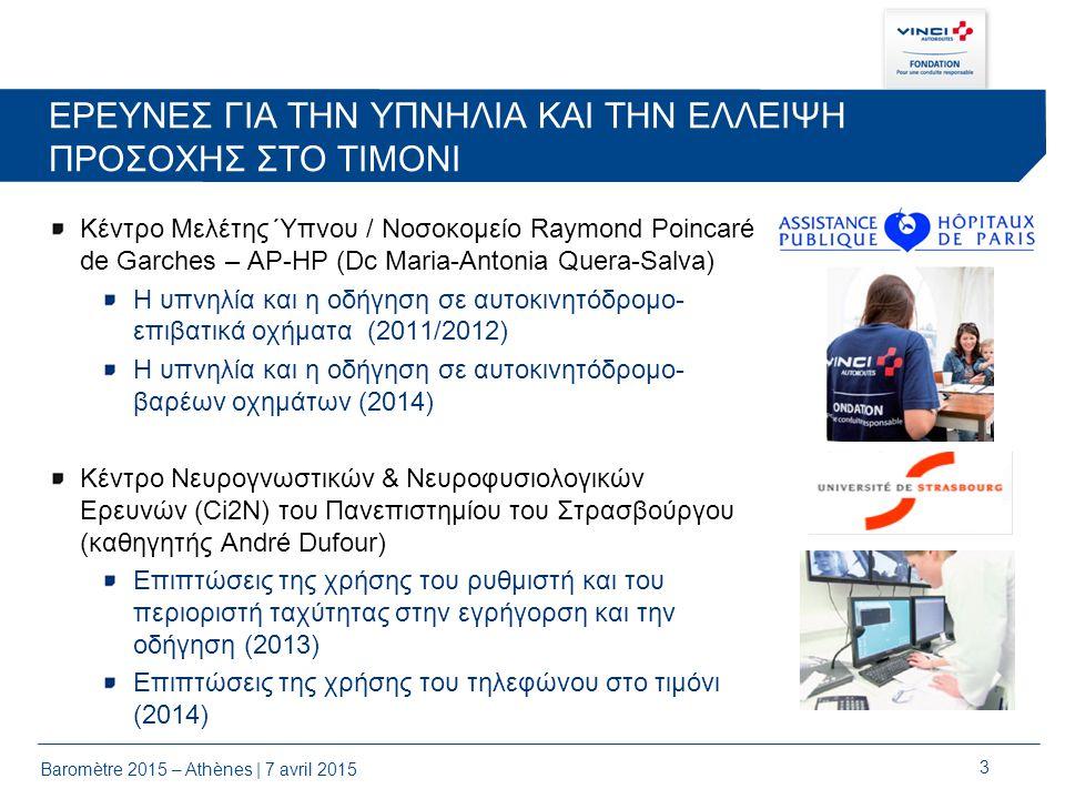 FONDATION VINCI AUTOROUTES ΙΔΡΥΜΑ ΓΙΑ ΤΗΝ ΑΣΦΑΛΗ ΟΔΗΓΗΣΗ Βαρόμετρο για την Ασφαλή Οδήγηση 2015 – Ελλάδα 7 Απριλίου 2015